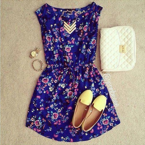 jewels jewelry chevron blue dress mini dress summer dress yellow shoes yellow ballet flats flat flats white bag mini bag summer outfits dress summer blue floral print dress floral floral dress blue