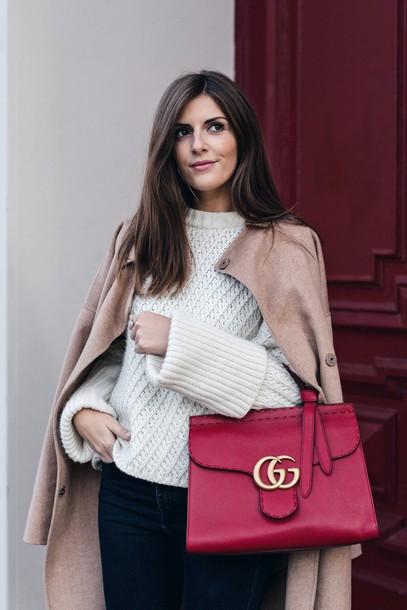 16de934c5b4 bag tumblr red bag gucci gucci bag sweater white sweater cable knit white  cable knit sweater