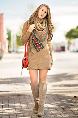a lonestar state of southern blogger dress sweater scarf shoes bag beige dress turtleneck dress knitted dress sweater dress fall outfits shoulder bag red bag knee high boots mini knit dress mini knitted dress knitted mini dress beige knit dress