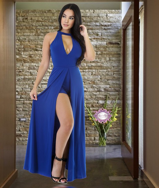 069722cdd872 dress luxe aloure jumpsuit romper choker necklace shorts royal blue black  dressy nightwear sexy v cut
