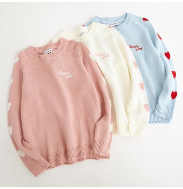 sweater girly sweatshirt jumper tumblr heart pink blue off-white