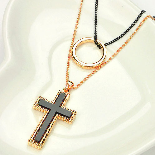 European Style Rhinestone Cross Ring Pendant Bi-layers Necklace [grxjy5100211] on Luulla
