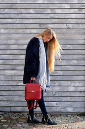 lisa f.k.,music of the wind,blogger,coat,bag,sweater,shoes,scarf,fur coat,red bag,backpack,ankle boots,winter outfits