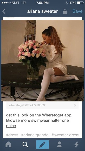 white sweater ariana grande long sweater