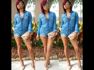 denim romper short overalls hair dye dress blouse t-shirt
