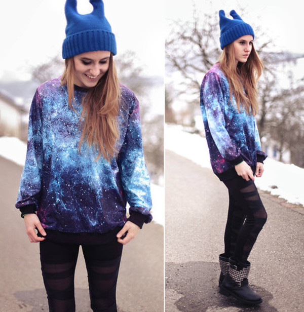 jeans blue black galaxy print leggings blouse hat shoes sweater clothes pants