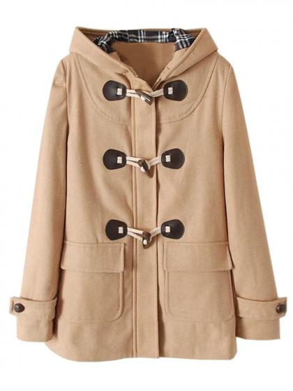 Wool blend hooded duffle coat in khaki