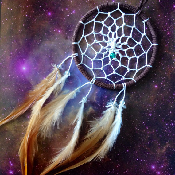 Brown dream catcher necklace white web door for How to tie a dreamcatcher web