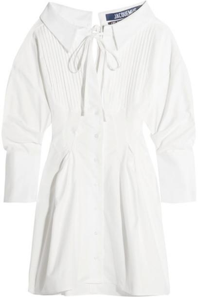 Jacquemus - Pintucked Cotton Mini Dress - White