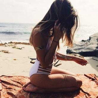 swimwear white bikini white bikini high waisted bikini cut out strappy
