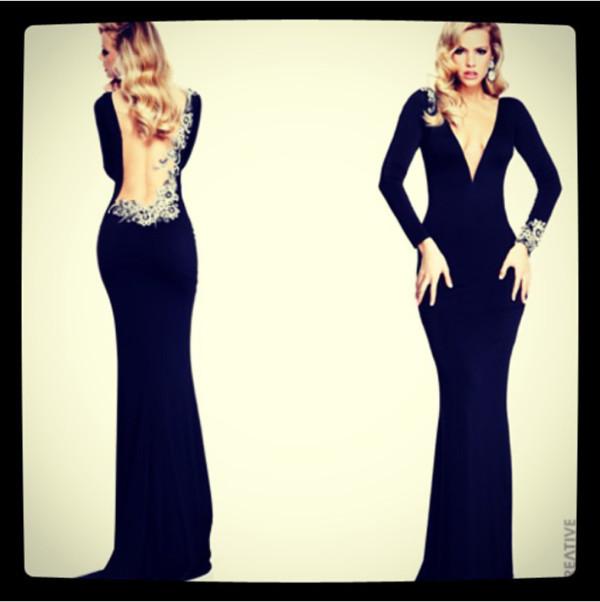 dress black prom long tight diamanté backless long sleeves pretty beautiful elegant