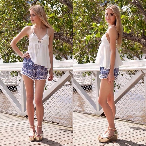 shirt white white top flare shorts raw hem blue blue shorts cute shop fashion avenue