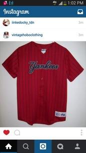 top,yankees,jersey,red,shirt,dope,streetwear,style,instagram,vintage