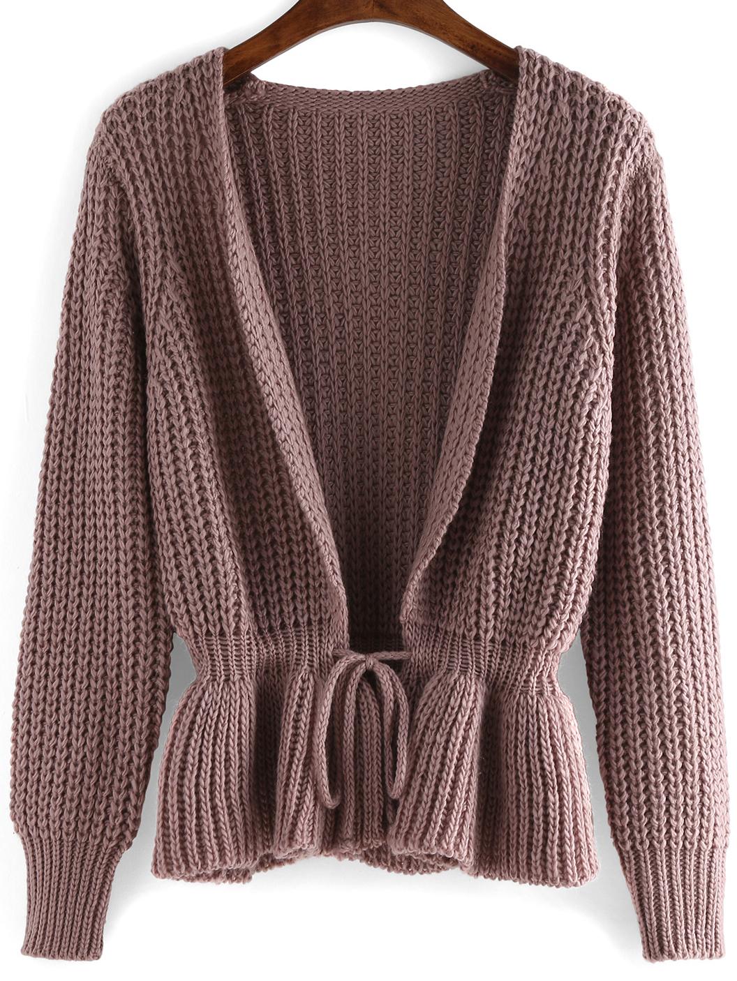 Long Sleeve Drawstring Sweater Coat -SheIn(Sheinside)
