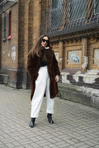 jeans tumblr white jeans oversized oversized coat brown coat coat fuzzy coat teddy bear coat sunglasses boots black boots