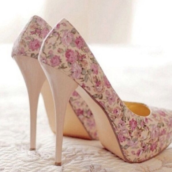 shoes heels pink flowers beige floral