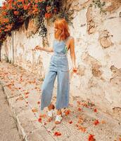 jumpsuit,overalls,denim,denim overalls,top,shoes