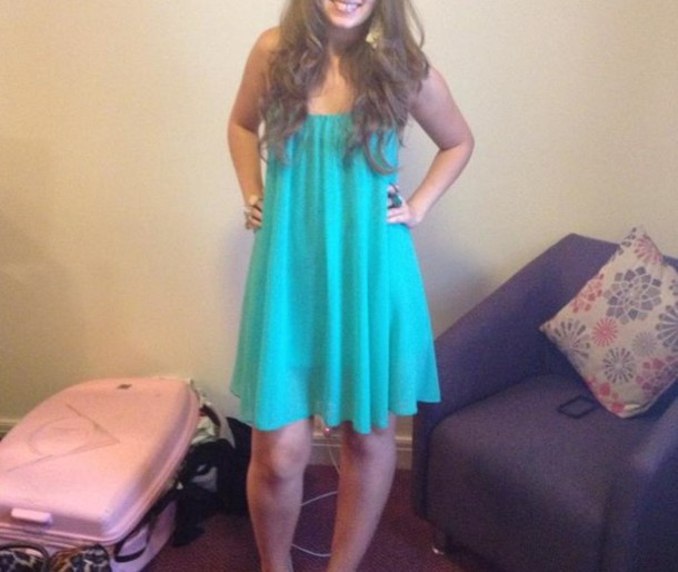 dress turquoise teal blue green chiffon babydoll floaty party short shoulders open shoulders going out dress going out