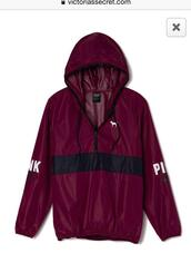 jacket,coat,pink,victoria's secret,spring coat,red,burgundy,maroon/red,maroon jacket,cute,black,windbreaker,victoria secret jacket,pink jacket,pink by victorias secret,maroon pink windbreaker,sweater,vs anorak,maroon/burgundy,vs pink maroon anorak jacket,s pink maroon anorak jacket,marron,hoodie