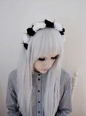 jewels,spiked headband,flower headband,pastel goth,hat,black,white,spikes,blouse,button,stripes,black and white,stripey,unusual,indie,retro,grunge,vintage,punk,button up,button down shirt,button down,buttons,punk jacket,hair accessory,goth,gothic grunge,fashion,fabulous,chinese,japan,kawaii,flower crown,pastel,tumblr,pastle goth,emo,pastel hair,sunglasses,rayban