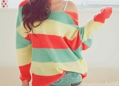 sweater,colorful,off the shoulder,loose,striped sweater,cute sweater,clothes,shirt,stripes