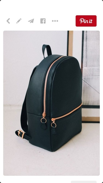 bag black gold style fashion school bag backpack leather backpack