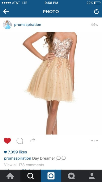 dress gold sparkle strapless homecoming dress