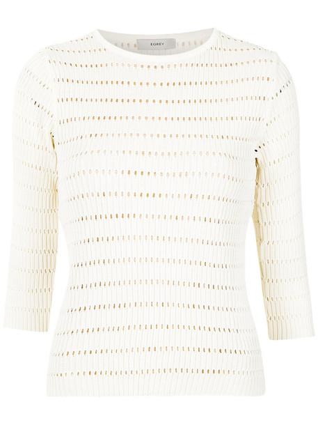 blouse open women white knit top