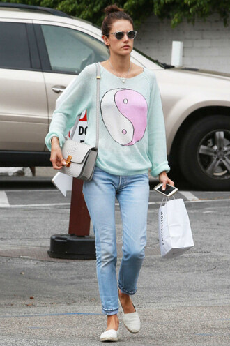 sweater top alessandra ambrosio espadrilles denim jeans sunglasses