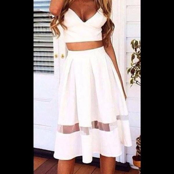 Skirt: long skirt, knee length skirt, bralette, crop tops, skater ...