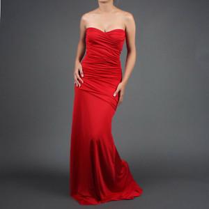 Red Long Strapless Dress | eBay