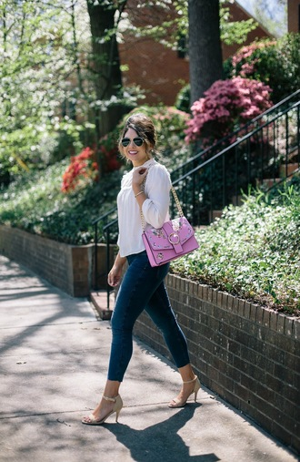 life & messy hair blogger bag jeans sunglasses shoes top white blouse blouse spring outfits skinny jeans sandals high heel sandals