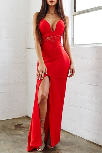 dress sexy red long maxi elegant party summer hot side split slit dress red carpet dress cleavage trendy style fashion beautiful halo sexy dress maxi dress red dress classy clubwear