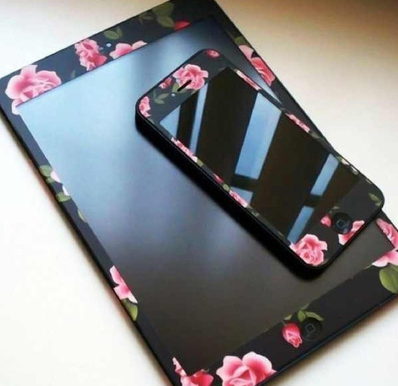 jewels matte flowers iphone sticker ipad black iphone 5, cover, case, skin, ipad