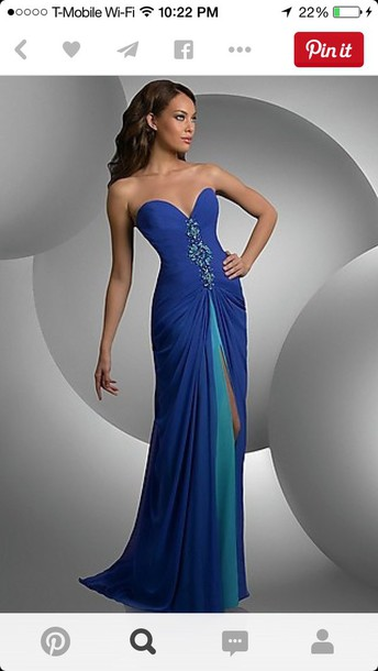 dress front slit strapless sweetheart corset back long long prom dress chiffon dress