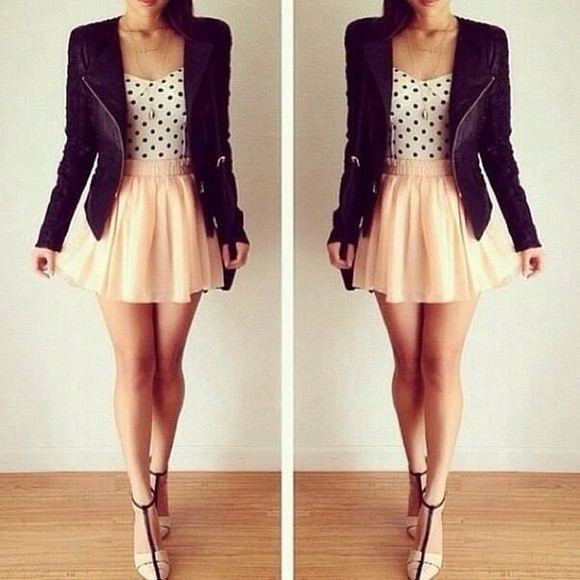 high heels shoes blazer jacket leather jacket skirt black and white polka dots shirt blouse cute summer outfits