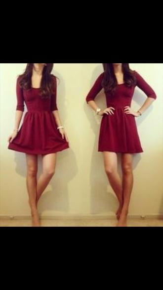 dress burgundy dress simple dress autumn/winter clothes burgundy