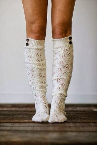 underwear socks knee high socks boot cuffs ivory socks croche knitwear boot socks button socks
