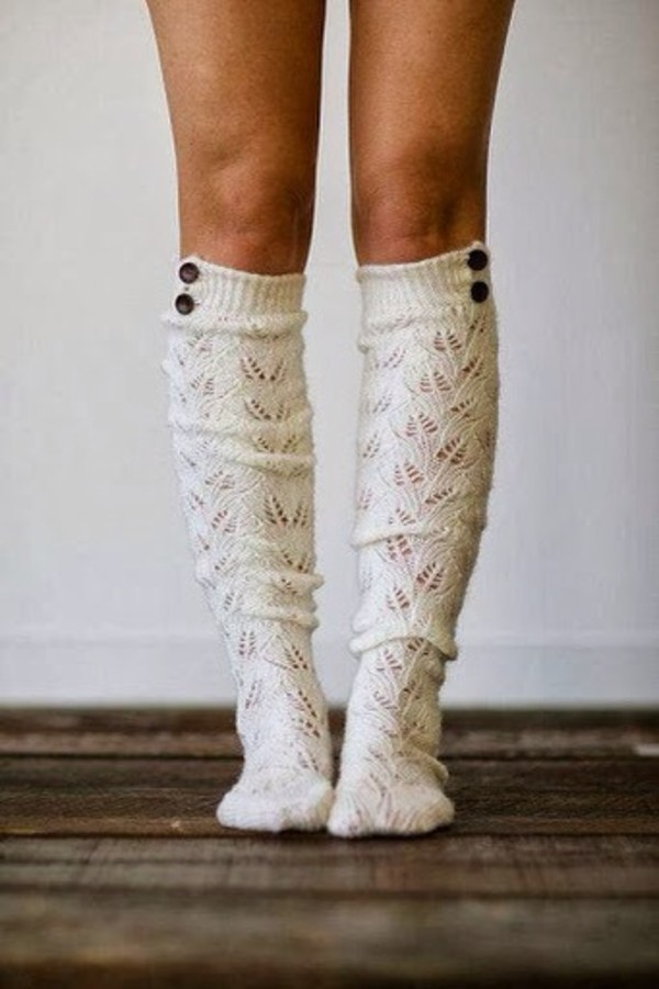 underwear socks socks croche knitwear knee high socks beige creme