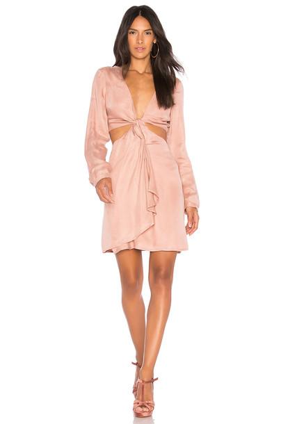 Bardot dress satin dress satin rose