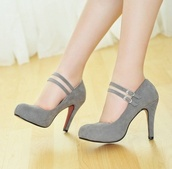shoes,heels,lush,red mary jane heels,grey,cute