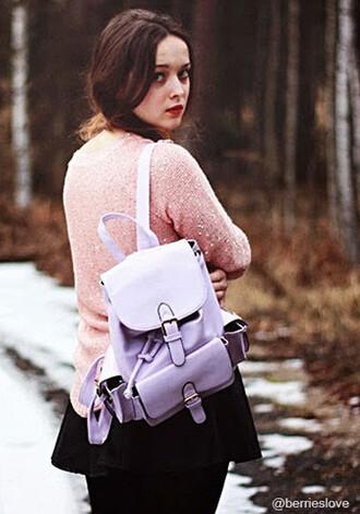bag purple bag pink sweater winter sweater winter bag backpack