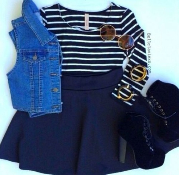 skirt red outfit cute outfits stripes
