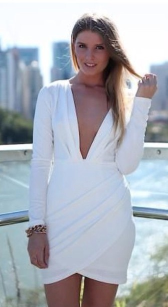 17990324226 dress white dress plunge neckline mini elegant stylish girls night out date  outfit
