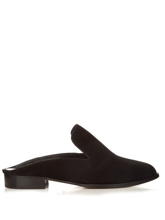 backless loafers suede black shoes