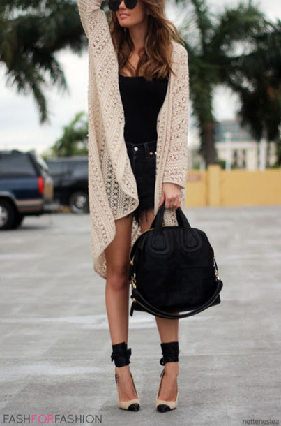 sweater crochet black shorts black top black bag pumps cardigan white cardigan lace knitted cardigan blouse