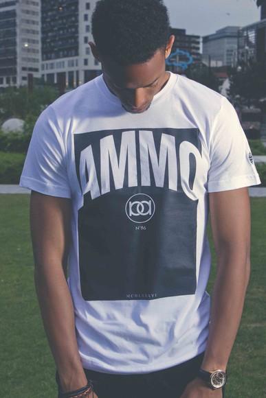yeezy t-shirt kanye west swag dope ammonamor streetwear print ammo yeezus hot monochrome