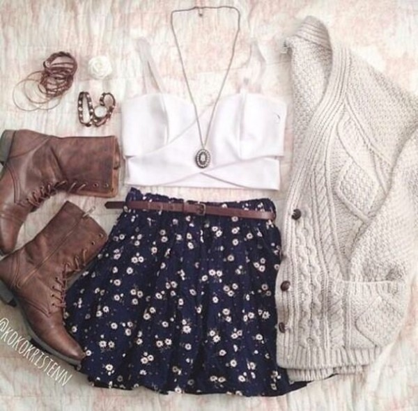 blouse cardigan belt skirt shoes sweater boots fall outfits necklace jewelry fall outfits outfit perfect white preppy white sweater top crop tops cute