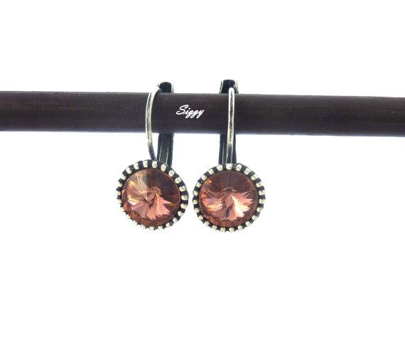 Blush Rose Swarovski crystal earrings, 8mm drop lever backs, vintage rose, Siggy bling