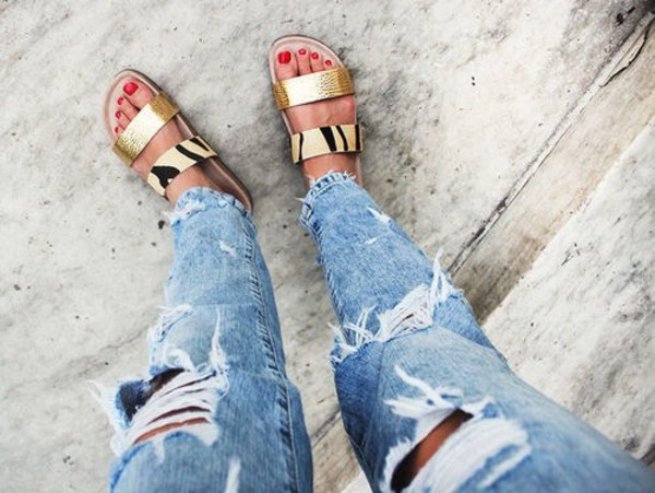 jeans shoes gold ripped boyfriend jeans sandals